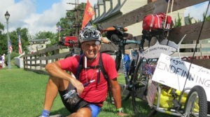 Mark DiMaggio enjoys a break from this summer's ride